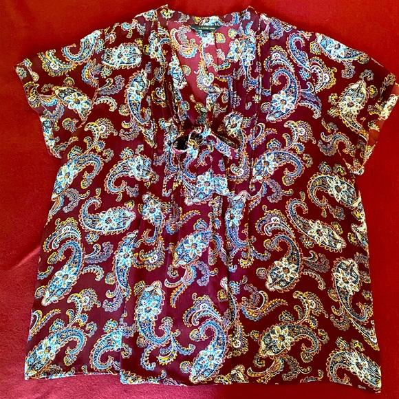 Lands End Paisley Blouse Bow-tie Neck, size XL